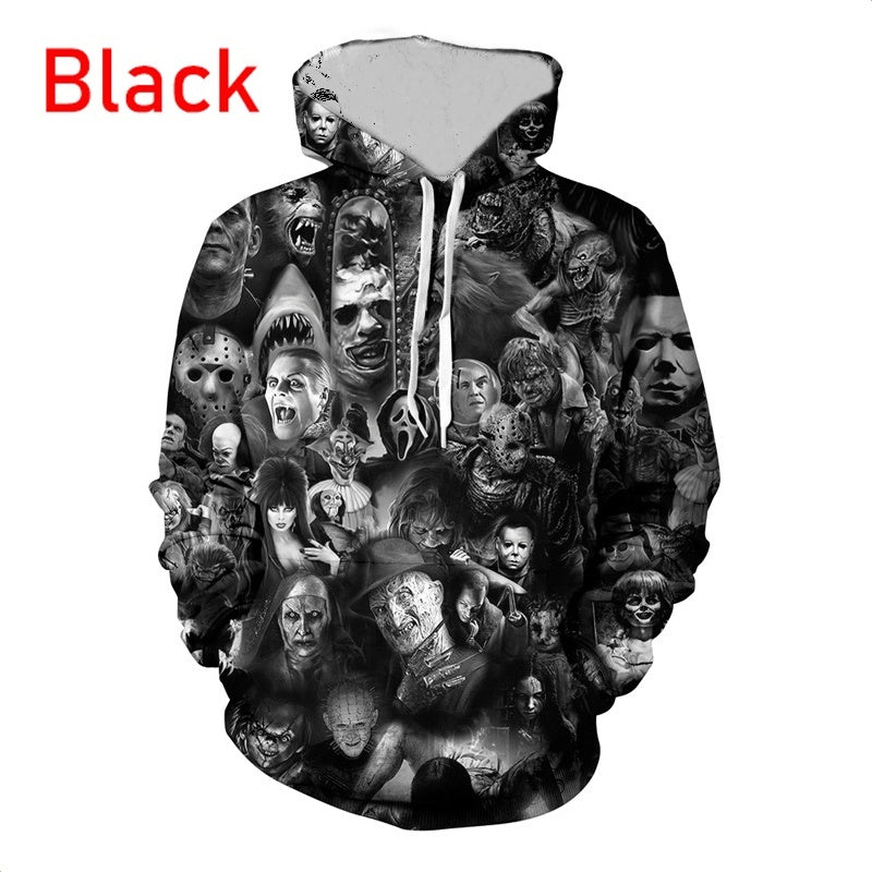 Men and Women Fashion Creative Horror Skull Print 3D Hoodies Plus Size Unisex Funny Long Sleeve Pullover Sweatshirt