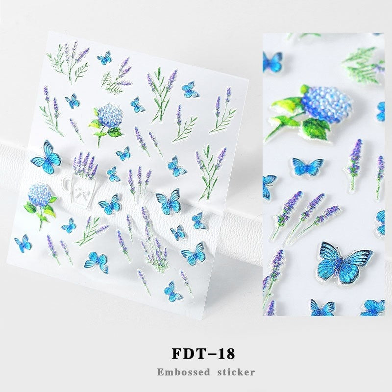 1 sheets 5D Flower Leaf Pattern Nail Tips DIY Nail Manicure Nail Sticker 5D Nail Art Sticker Embossed Water Decals