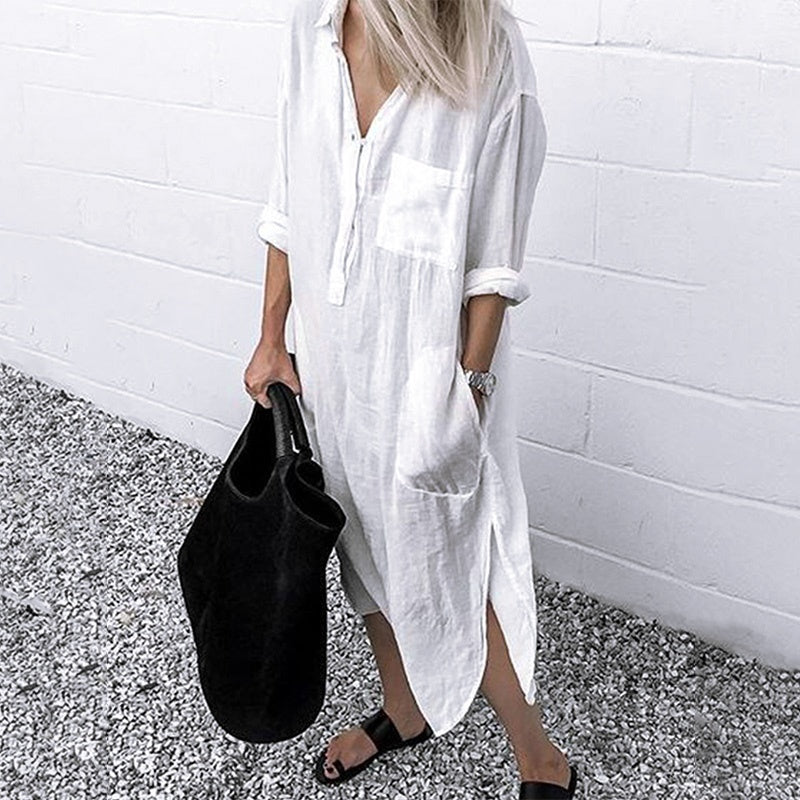 ZANZEA Women Long Sleeve V Neck Button Down Long Shirt Dress Ladies Midi Dresses