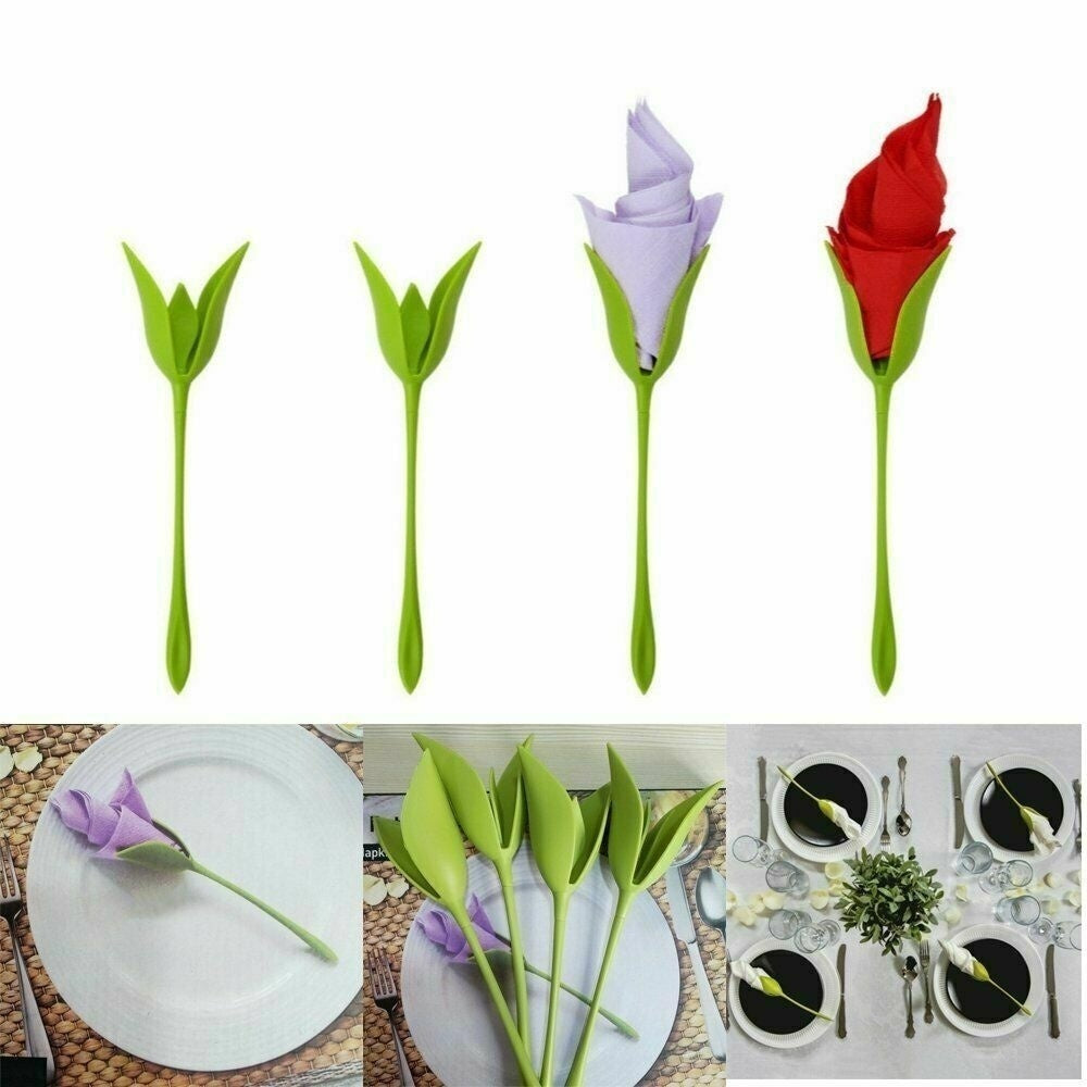 4/8/12/16Pcs Green Twist Flower Buds Serviette Napkin Holders Dinner Wedding Party Decoration (No Napkin)