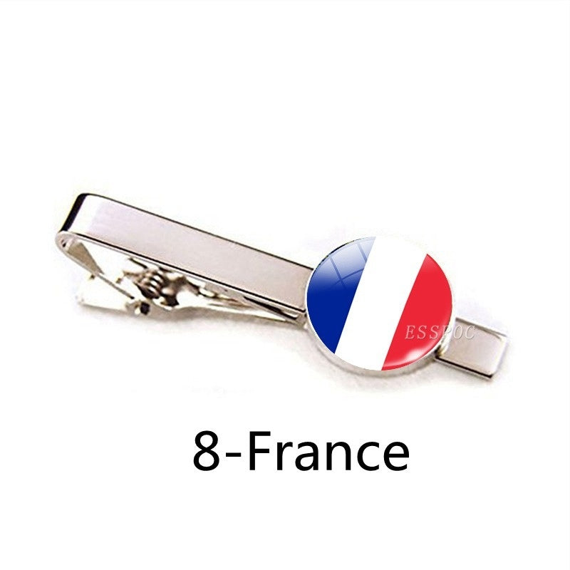 Men Fashion 32 Countries National Flg Tie Clips Stainless Steel Silver Simple USA Flag Tie Pins Suit Pins Button Men Tie Accessories