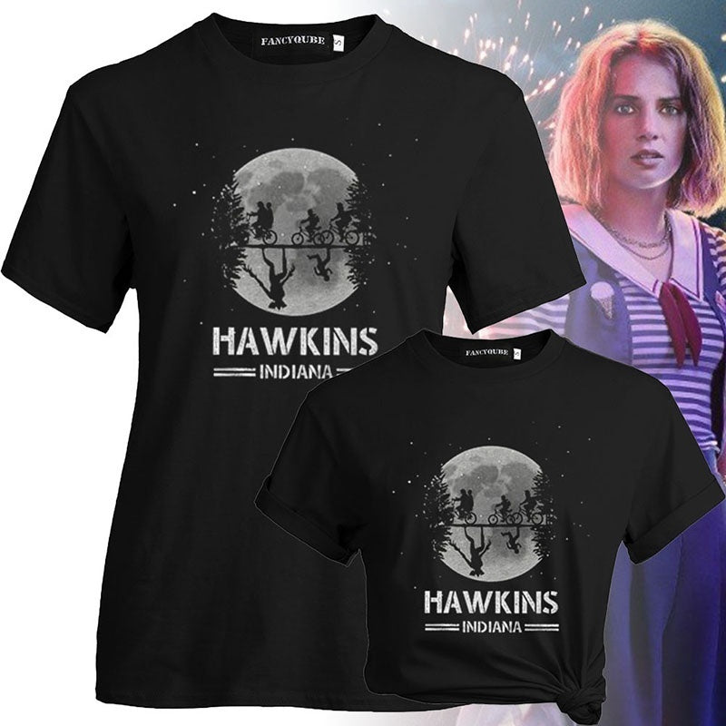 2019 New Fashion Men Women Stranger Things 3 Hawkings Indiana Letter Print O Neck Short Sleeve T-Shirt Casual T Shirt Tops