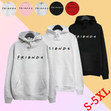 Women's Fashion Winter Autumn Casual Long Sleeve Hoodies Printed Letter Friends Hooded Sweatshirts Loose Pullover with Pocket