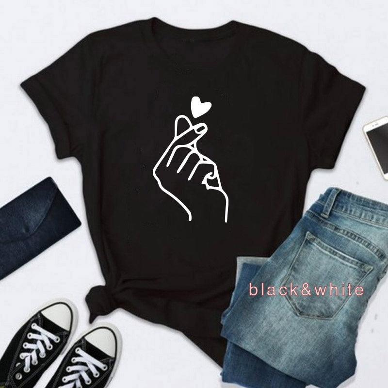 2019Fashion Women's Summer Casual Tops Love Gesture Print Short Sleeve T-Shirt