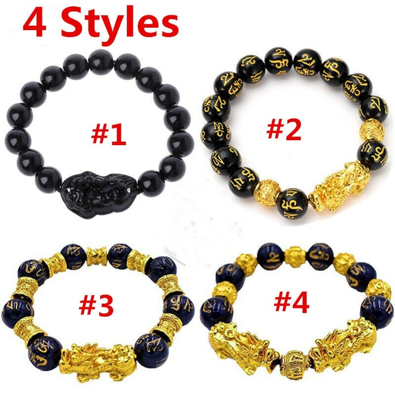 2019 New Feng Shui Black Obsidian Alloy Wealth Bracelet Gift