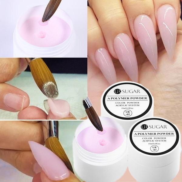 UR SUGAR Acrylic Powder Clear Pink White Carving Crystal Polymer 3D Nail Art Tips Builder Acrylic Powder for Nails