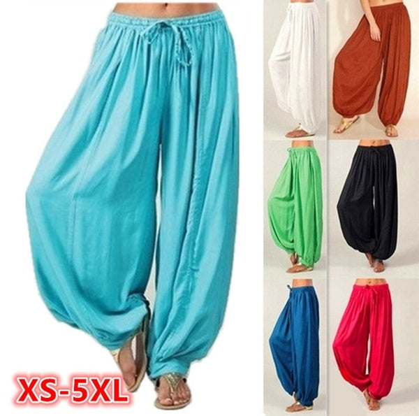 Plus Size XS-5XL Women Leisure Cotton Linen Trousers Women Harem Pants Casual Long Pant Solid Color Loose Baggy Yoga Pants