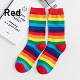 Winter Women's Socks Cotton Rainbow Stripes Socks Christmas Fashion Warm Christmas Casual Tide Socks harajuku korean