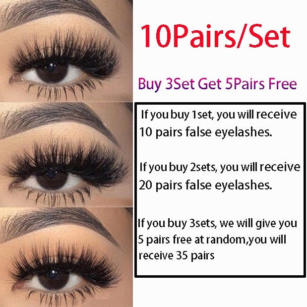 10Pairs Multipack Natural False Eyelashes Soft Cross Mink Lashes Multilayer Fake Mink Eyelashes Women Makeup Tools