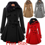 Vintage Woolen Coat Double Buckle Trench Coats Female Autumn Coat Windbreaker Women Winter Gothic Cape Parka Cloak Plus Size