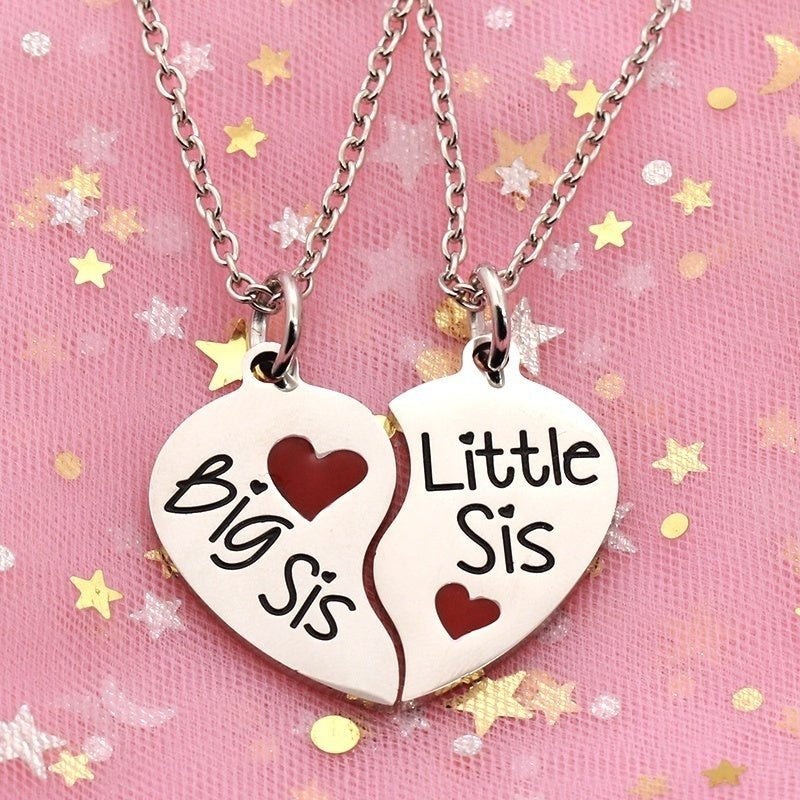 Heart Shaped Pendant with  Red Heart Necklace  Big Sis Little Sis for Sisters or BFF or  The Twin Sisters for the birthday present