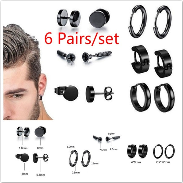 6 Pairs/set Stainless Steel Stud Earrings for Men Hoop Earrings Piercing Black Dumbbell Stud Earring Set
