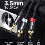 REXLIS Professional Adapter Y Splitter Gold Plated Audio Cable Male to Male 3.5mm to 2 RCA Aux Cord