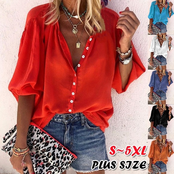 New Women Plus Size Fashion T-shirt 3/4 Sleeve Blouse Button Pure Color Loose Tops