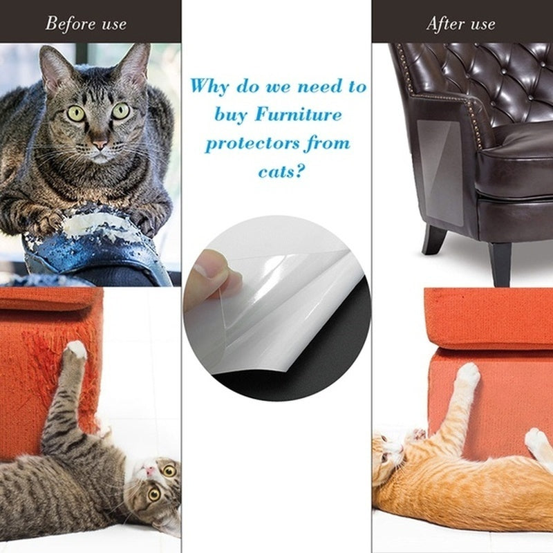 2/4 Pcs Cat Scratch Guard Mat Pet Cat Scratching Post Furniture Sofa Seat Protector