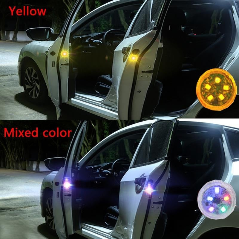 2PCS pack Professional Car Door Warning Light LED Universal Waterproof Anti-collision Durable Colorful Warning Light 5LED Lamp beads