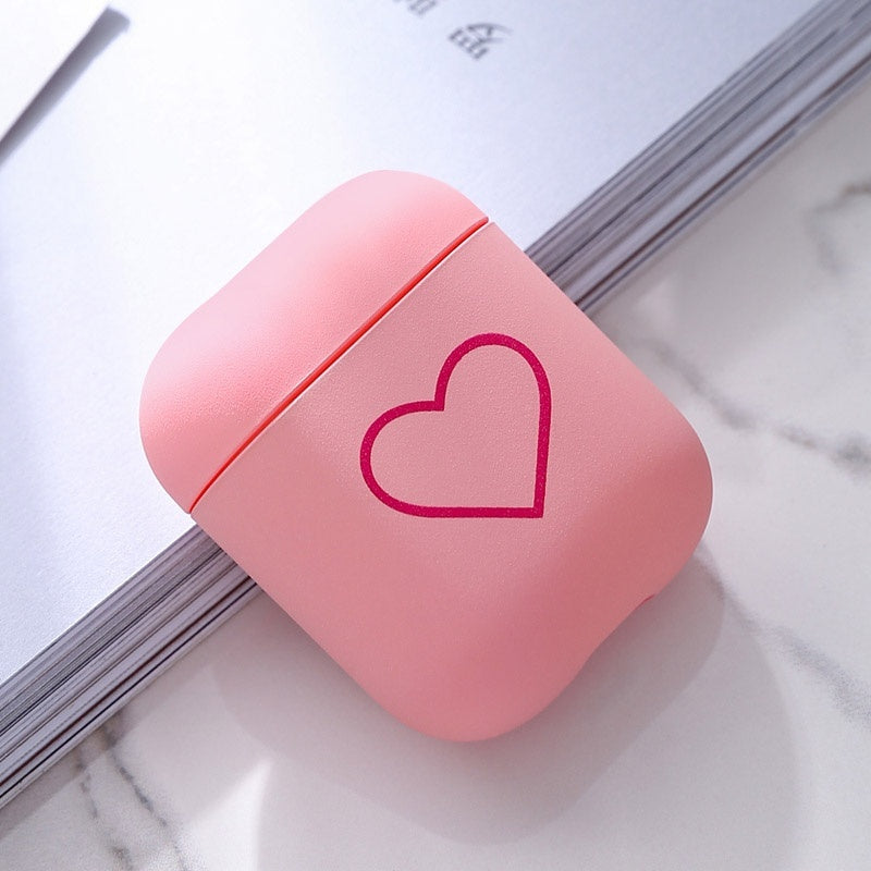 2 Colors Heart Silica Gel AirPods Headset Protective Case Airpods Protective Sleeve ShockProof Box Cover for Wireless Bluetooth Earphone