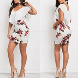 S-5XL New Fashion Summer Women Stunning Chiffon Patchwork Party Dress Flounce Floral Print Bodycon Dresses