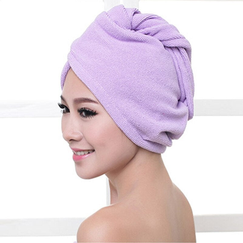 Microfibre After Shower Hair Drying Wrap Womens Girls Lady Towel Quickly Dry Hair Hat Cap Head Wrap Bathing Tools