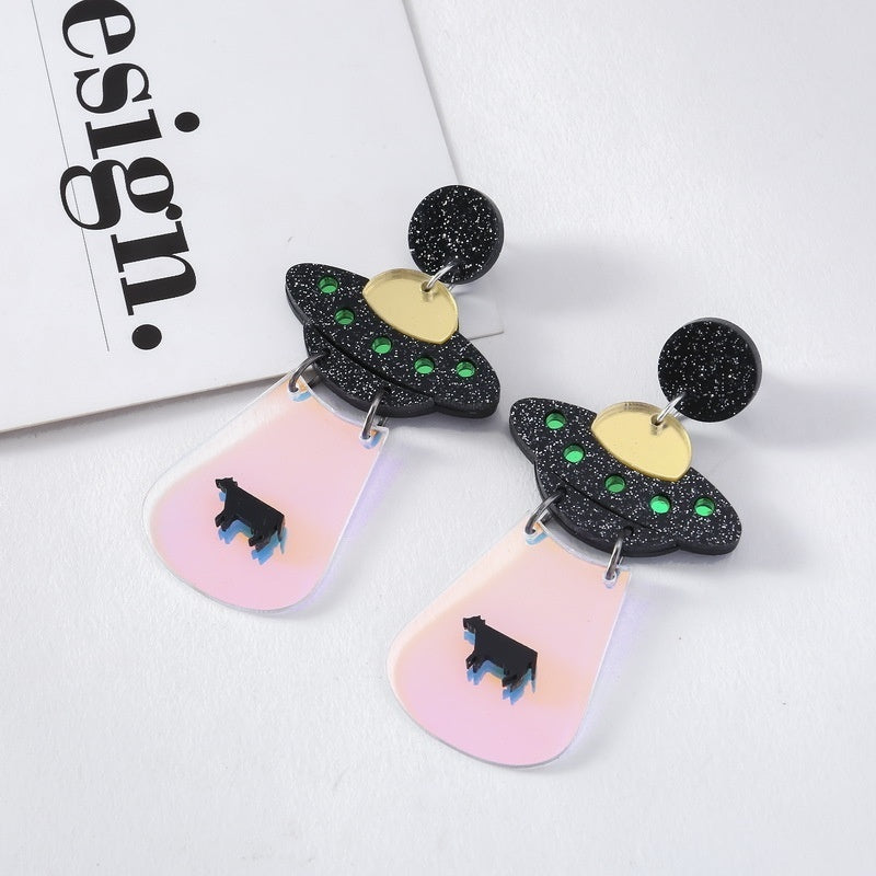 1 Pair of Cute Exaggeration Alien Earrings UFO Spacecraft Earrings Creative Jewelry Fashion Accessories