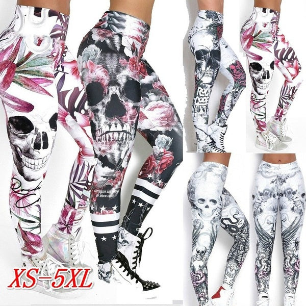 Fashion new yoga pants skull creative funny 3D printed hips breathable quick-drying dance sports high elasticity show hip slim yoga pants nine-point pants leggings S-XXXL