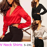 Women's Long Sleeved Shirts V Neck Silk Satin Blouses T Shirts Formal Work Elegant Tops Puff Sleeves