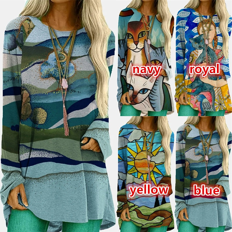 2020 New Arrival Women Fashion Round Neck Long Sleeve Printing Casual Cotton Blouse Top