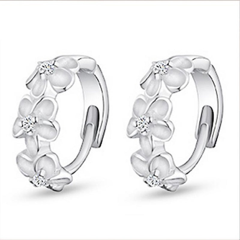 Beautiful Plum Blossom Weight Loss Earrings Fashion 925 Sterling Silver Cubic Zirconia Flowers Magnetic Therapy Slim Earrings Chakra Burning Fat Health Jewelry
