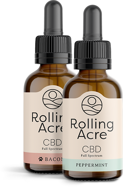Rolling Acre CBD Tinctures Bacon for Pets and Peppermint for People