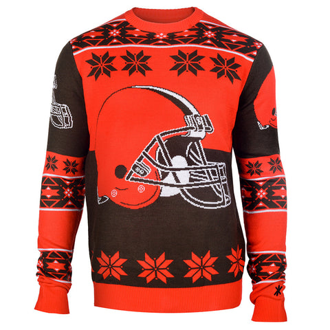 Cleveland Browns Klew Brown Patches Crew Neck Ugly Sweater