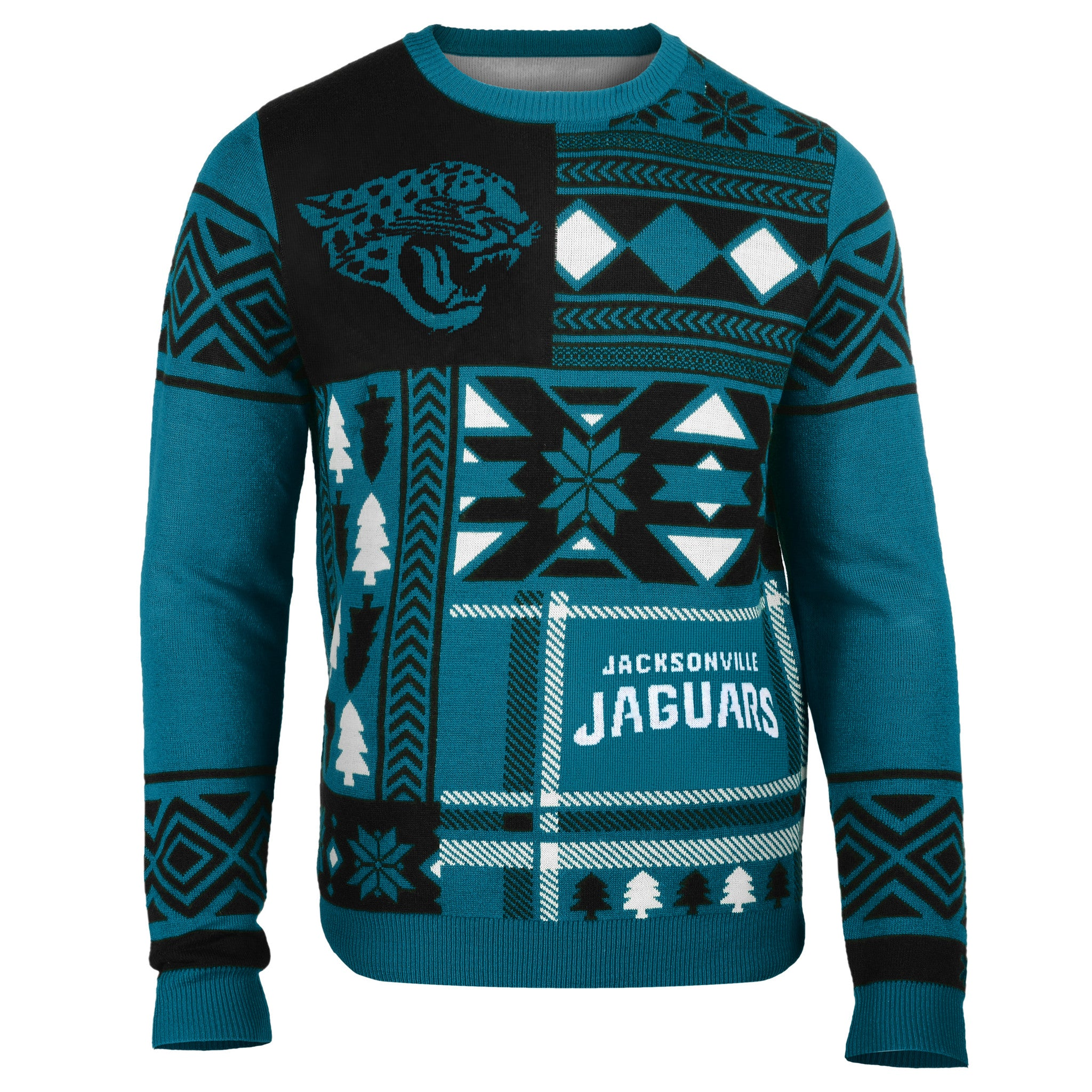 Jacksonville jaguars patches ugly crew neck sweater for Unique home stays jersey