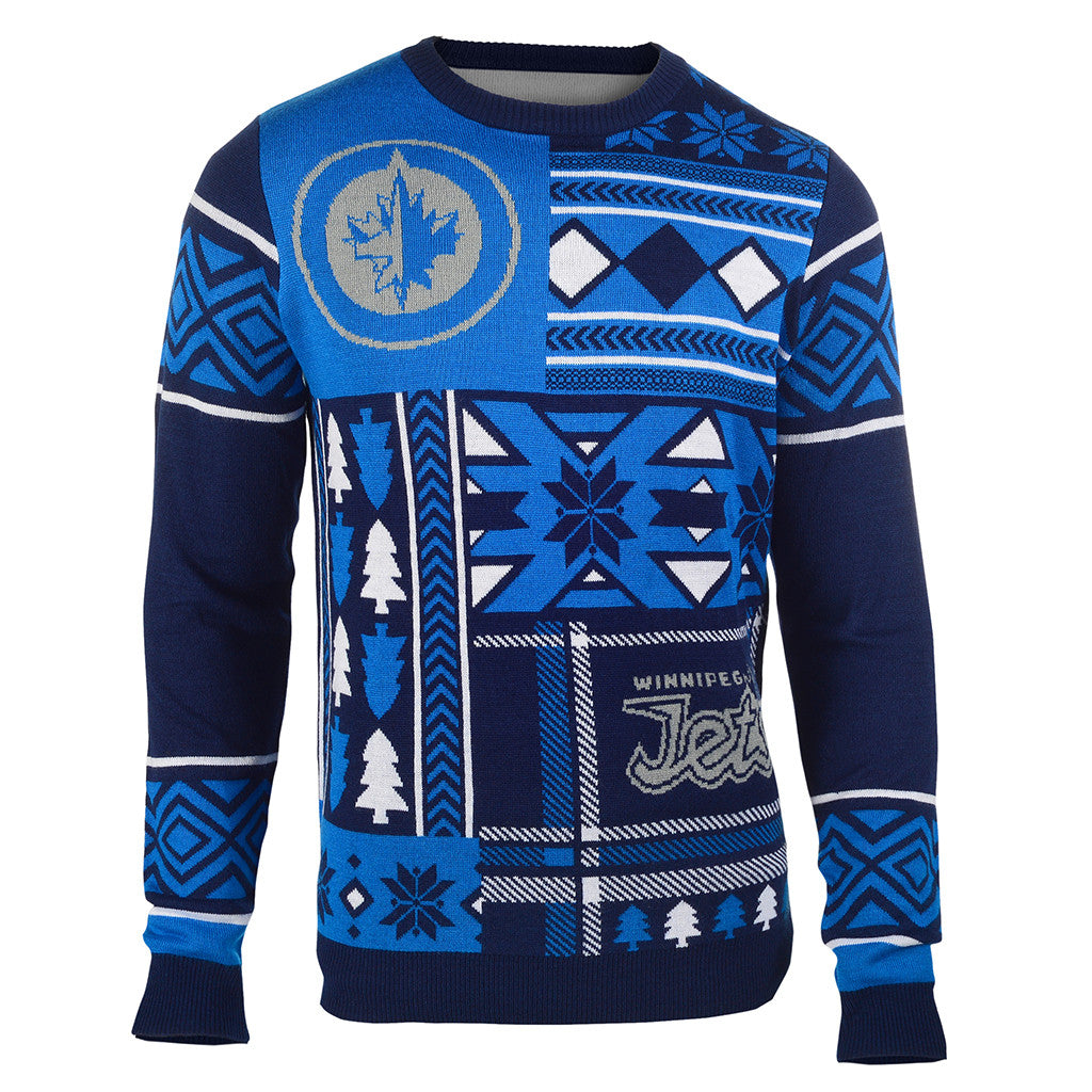 3df54175206 Winnipeg Jets Patches Ugly Crew Neck Sweater - UglyTeams