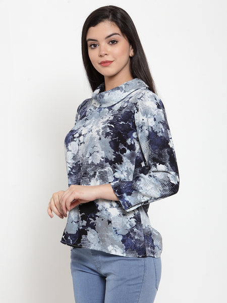 Aujjessa Navy Grey Printed Top