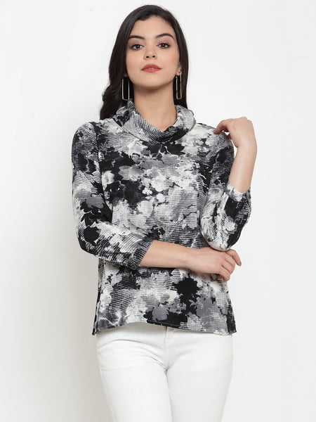 Aujjessa Black Grey Printed Top