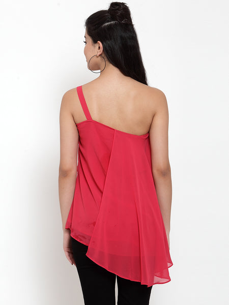 Aujjessa Dark Pink One Off Shoulder Top