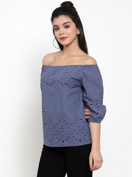 Aujjessa Navy Blue Schiffli Top