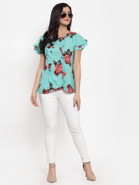Aujjessa Sea Green Printed Top