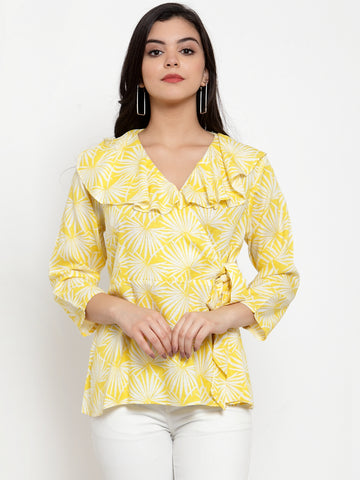 Aujjessa Yellow Printed Peplum Top