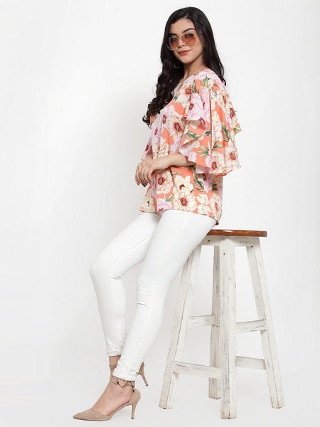 Aujjessa Peach Multi Printed Top