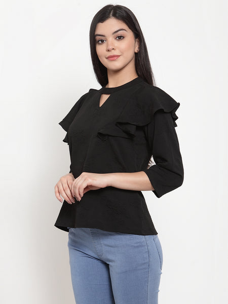 Aujjessa Black Jacquard Top