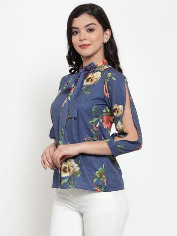 Aujjessa Blue Multi Printed Top