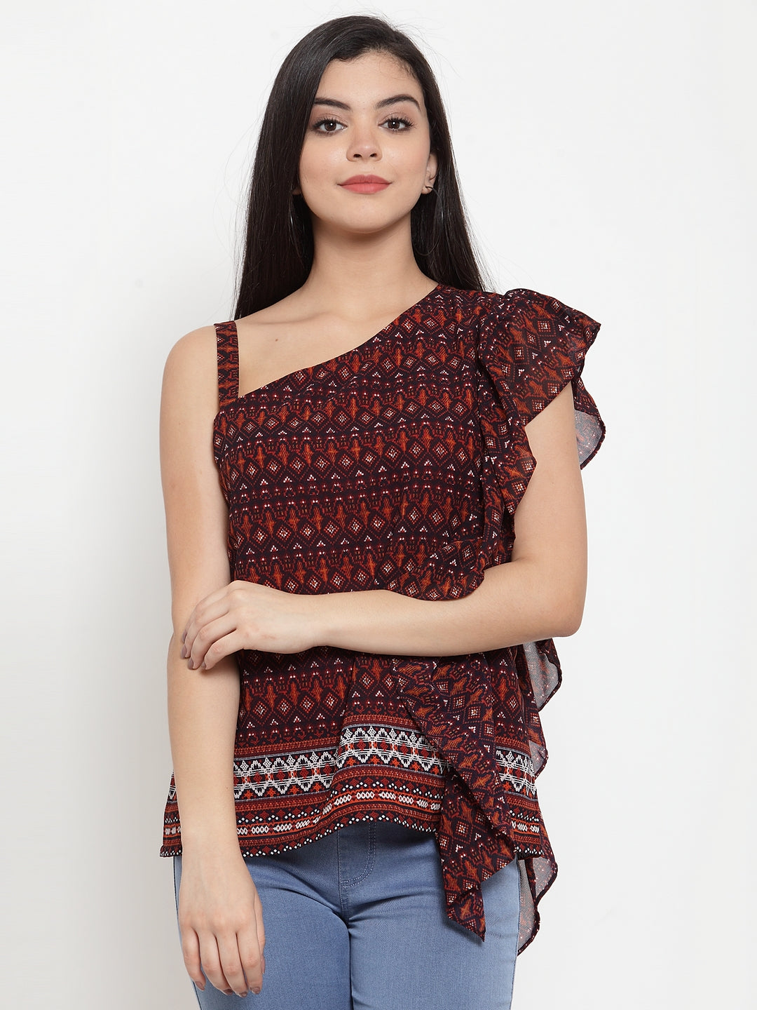 Aujjessa Brown Multi One Off Shoulder Top