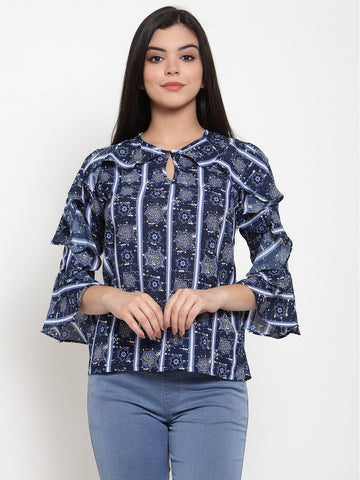 Aujjessa Navy Blue Printed Top