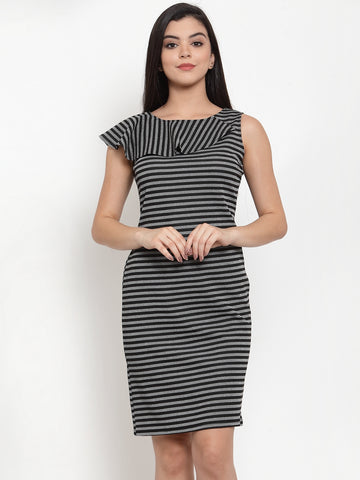 Aujjessa Black Grey Sheath Dress
