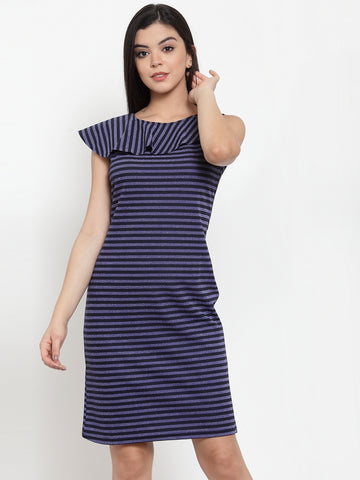 Aujjessa Navy Blue Sheath Dress