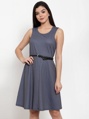 Aujjessa Navy Blue Belted Skater Dress