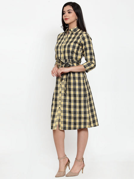 Aujjessa Black Yellow Cotton Shirt Dress