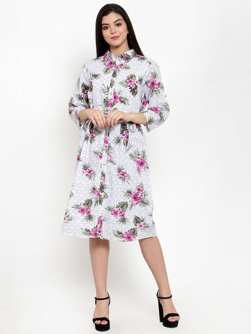 Aujjessa White Multi Cotton Shirt Dress