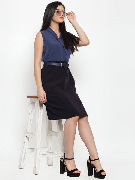 Aujjessa Blue Belted Sheath Dress