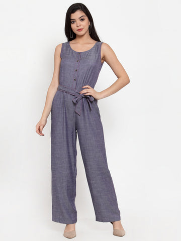Aujjessa Light Blue Self Pattern Basic Jumpsuit